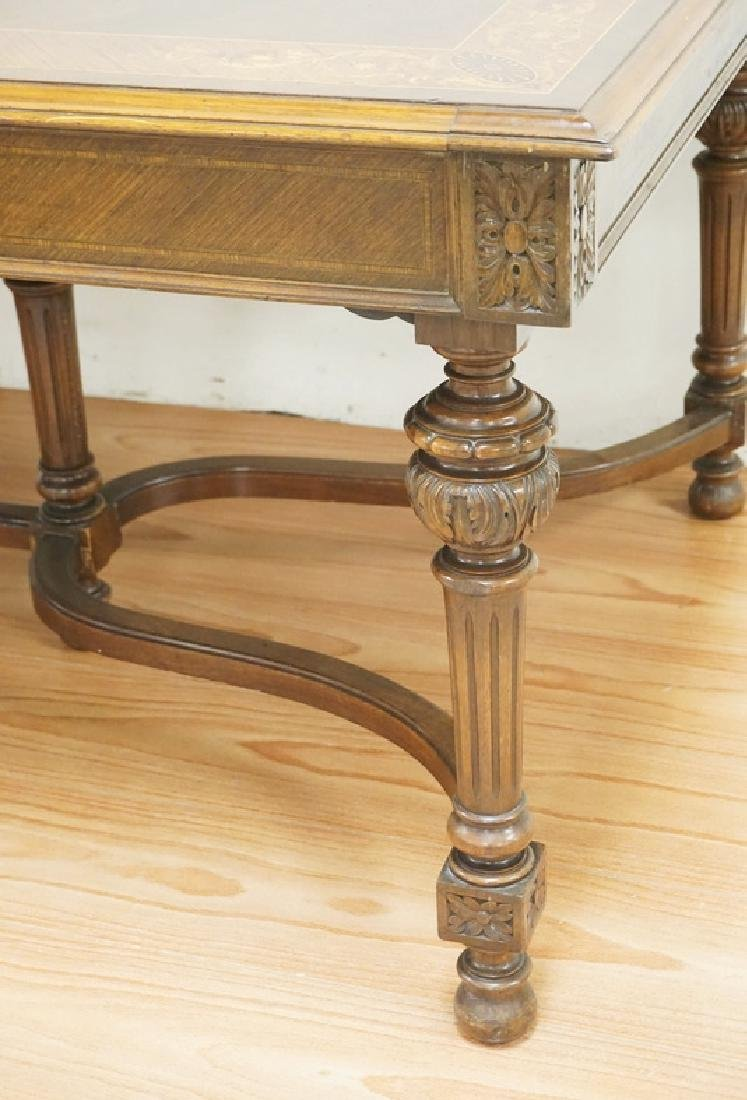 CARVED AND INLAID DINING ROOM TABLE. BANDED TOP WITH - 2