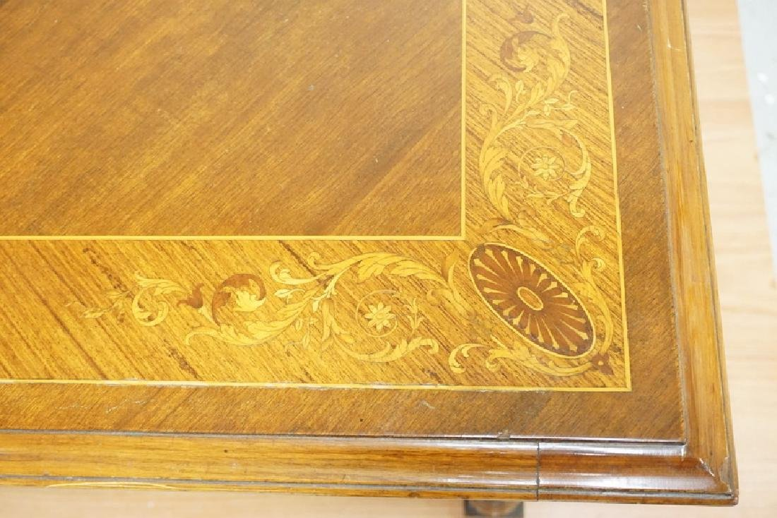 CARVED AND INLAID DINING ROOM TABLE. BANDED TOP WITH - 3