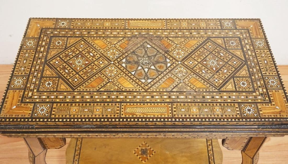 INTRICATELY INLAID GAME TABLE WITH INLAY OF VARIOUS - 2