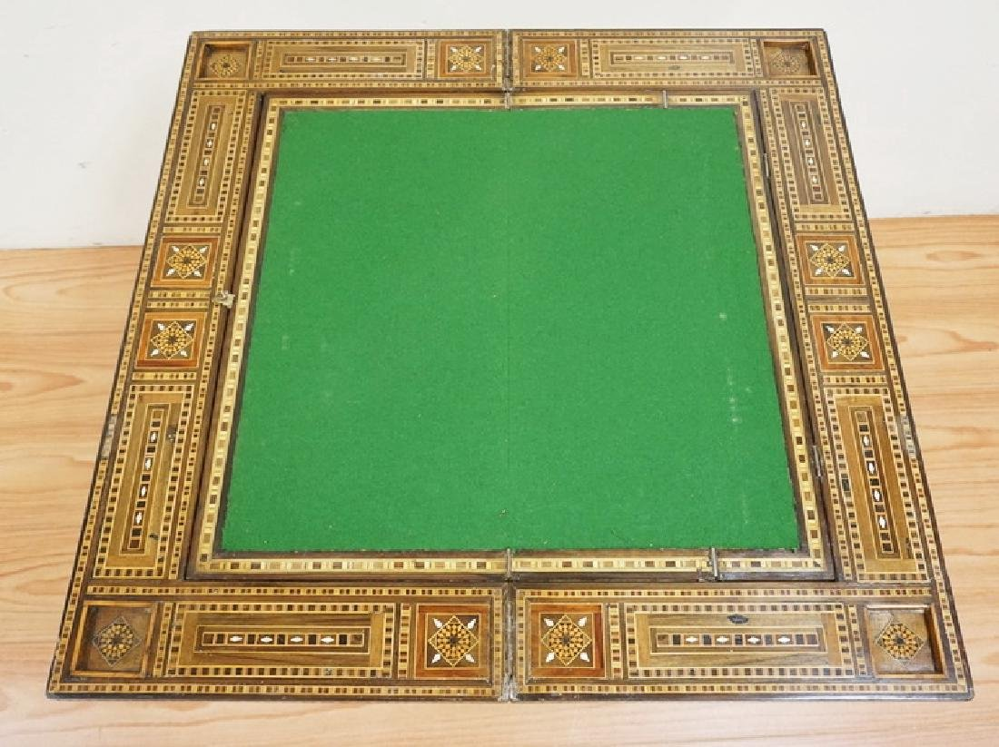 INTRICATELY INLAID GAME TABLE WITH INLAY OF VARIOUS - 3