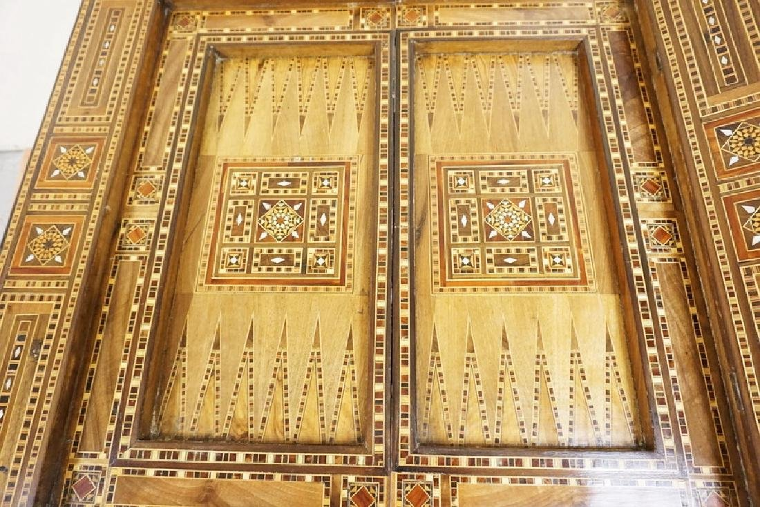 INTRICATELY INLAID GAME TABLE WITH INLAY OF VARIOUS - 4