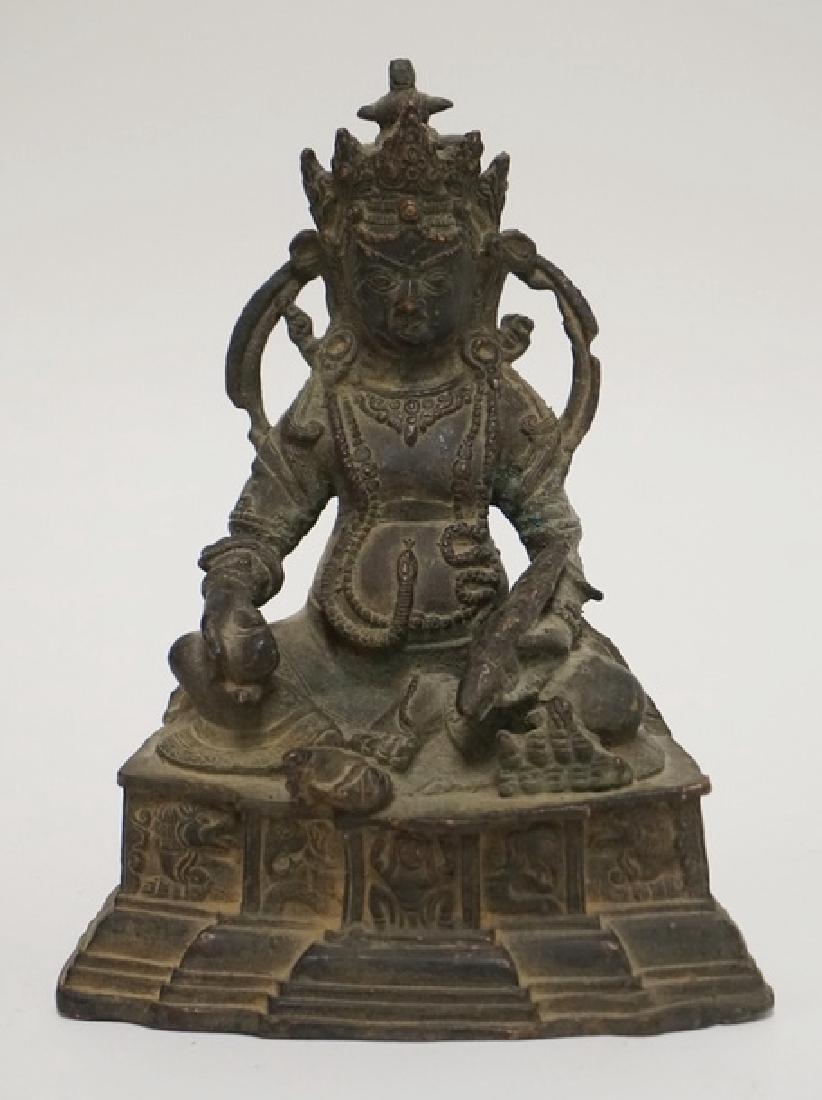 COPPER BUDDHA FIGURE MEASURING 7 7/8 INCHES HIGH.