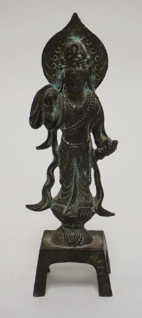 BRONZE GUANYIN FIGURE MEASURING 7 INCHES HIGH.