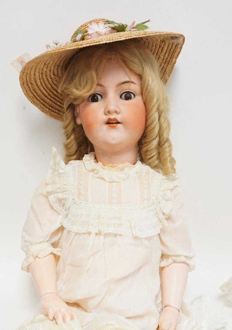 LARGE AM 390 BISQUE HEAD DOLL. 37 1/2 IN. BOTTOM OF ONE - 2