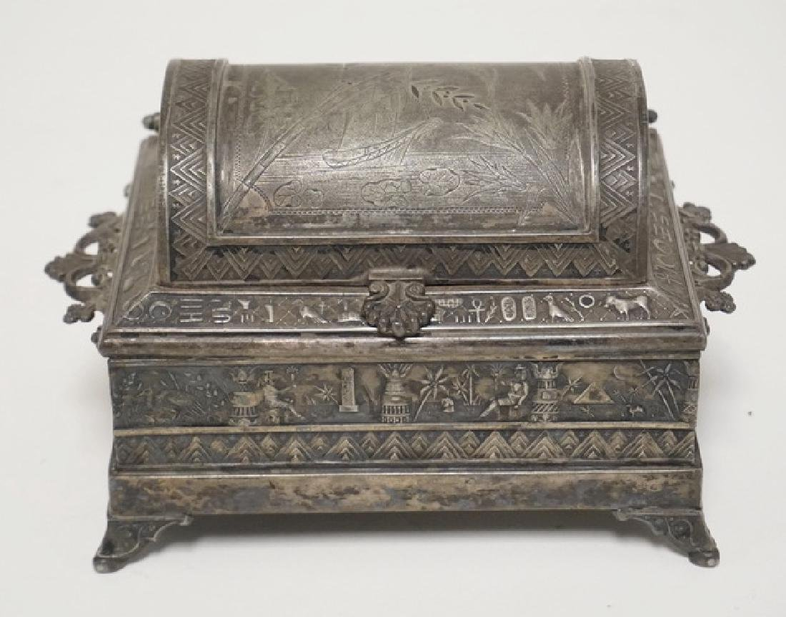 VICTORIAN SILVER PLATED JEWELRY CASKET WITH AN EGYPTIAN