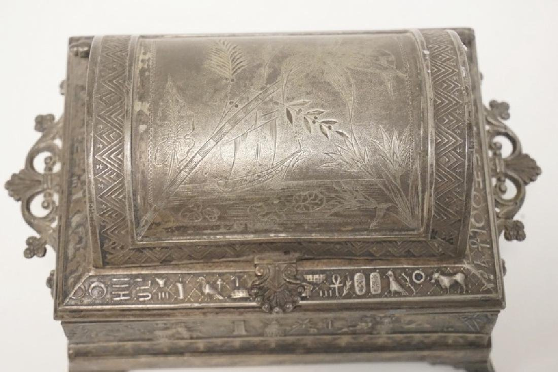 VICTORIAN SILVER PLATED JEWELRY CASKET WITH AN EGYPTIAN - 2