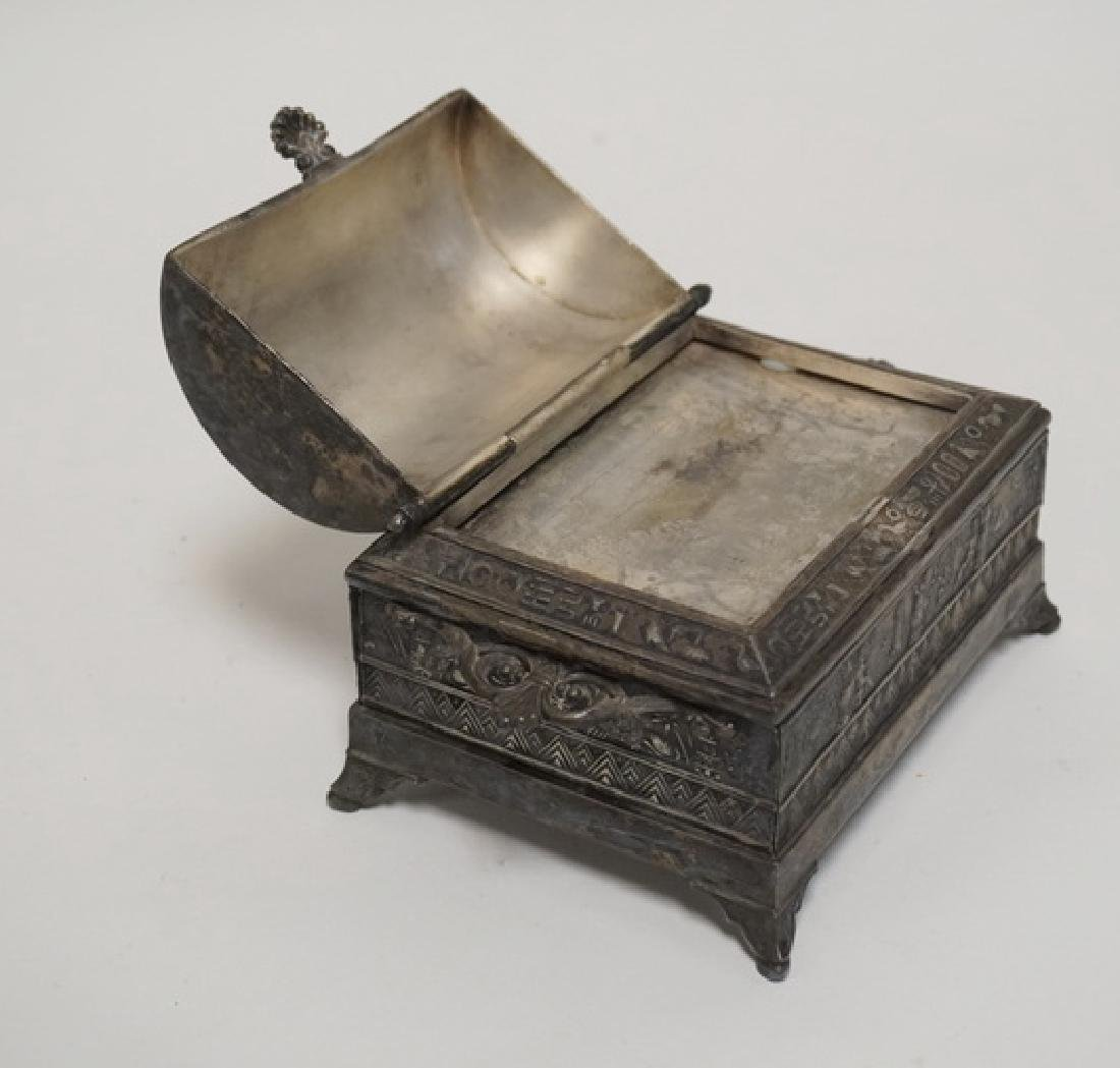VICTORIAN SILVER PLATED JEWELRY CASKET WITH AN EGYPTIAN - 3