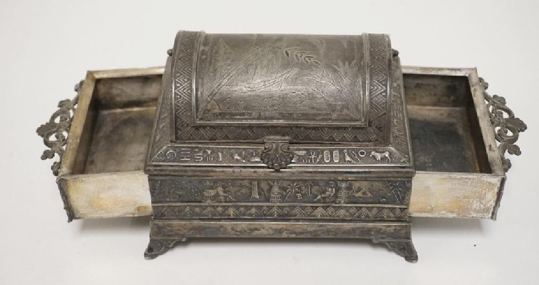 VICTORIAN SILVER PLATED JEWELRY CASKET WITH AN EGYPTIAN - 4