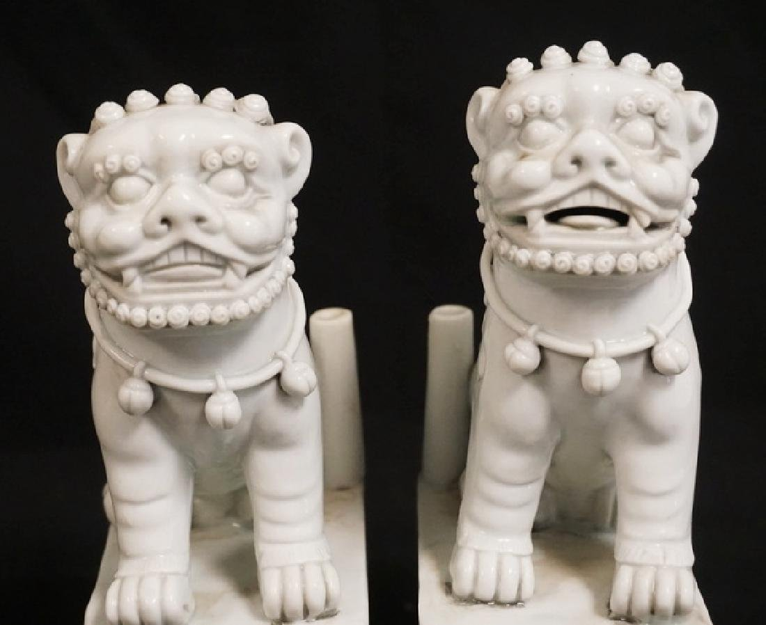 PAIR OF BLANC DE CHINE FOO DOG FIGURES. 7 1/4 INCHES - 3
