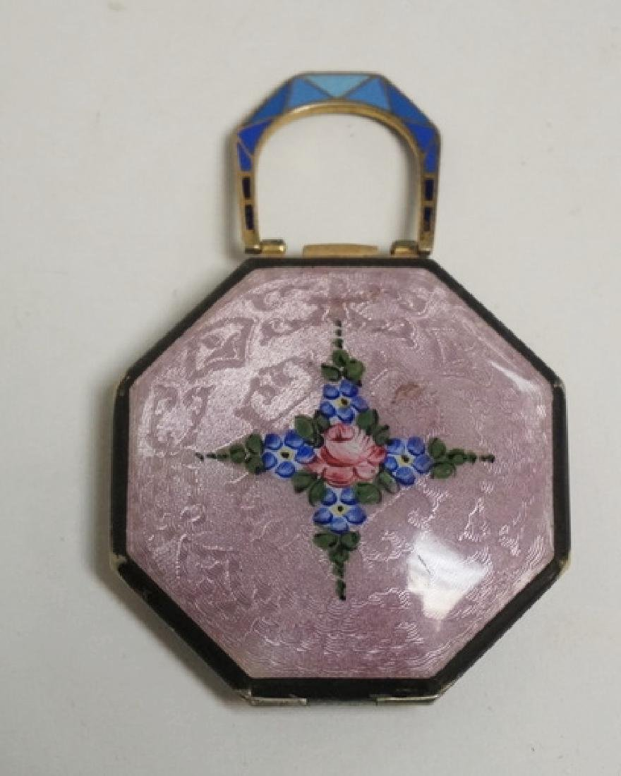 GUILLOCHE ENAMEL AND HAND PAINTED COMPACT. 3 X 2
