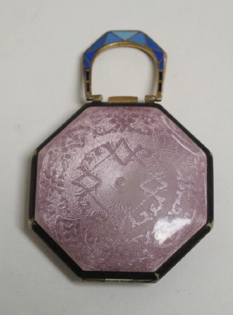 GUILLOCHE ENAMEL AND HAND PAINTED COMPACT. 3 X 2 - 2