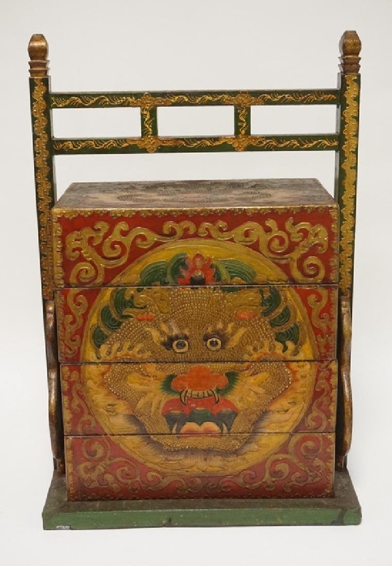 ASIAN STACKING BOX WITH FRAME. POLYCHROME DECORATED