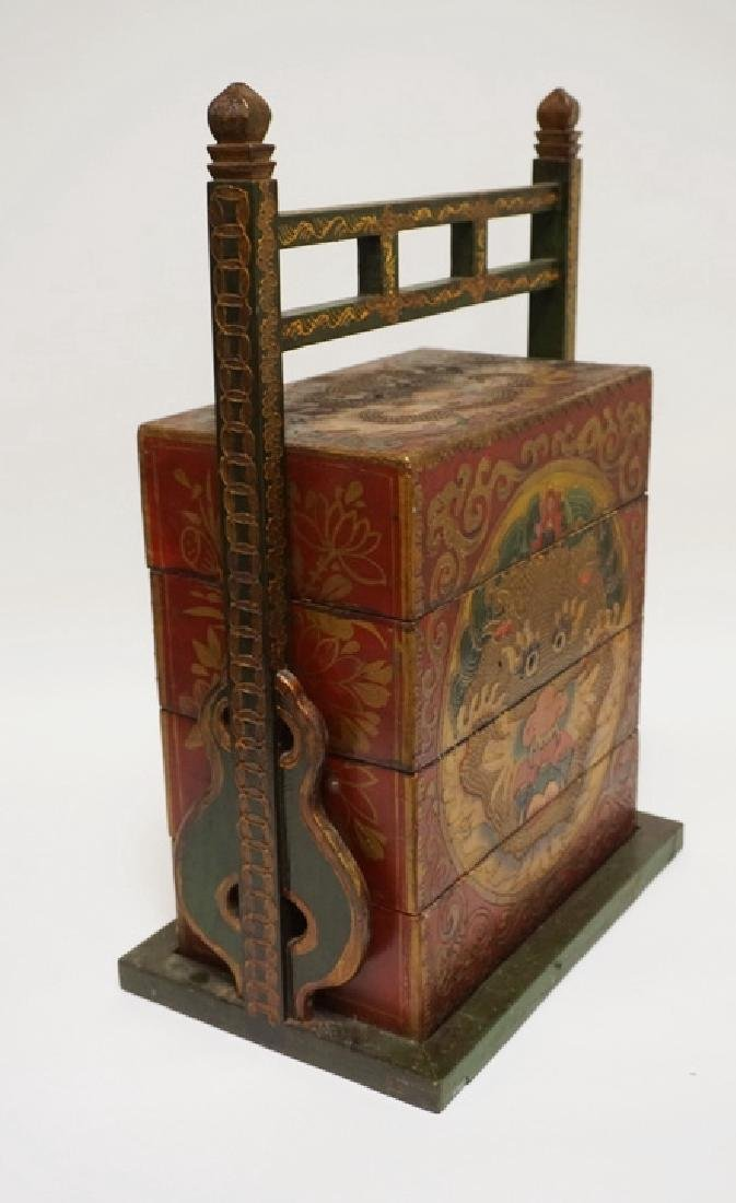ASIAN STACKING BOX WITH FRAME. POLYCHROME DECORATED - 3