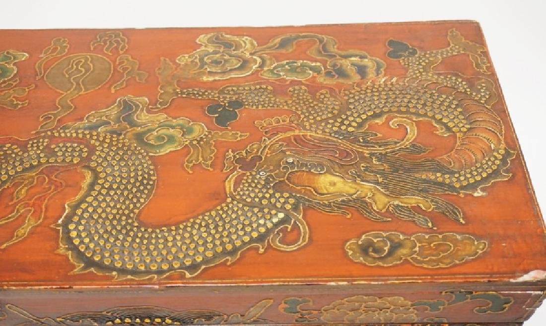 ASIAN BOX ON HIGH LEGS. POLYCHROME DECORATED WITH - 3