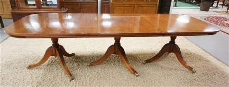 LARGE 3 PART BANDED MAHOGANY DINING ROOM TABLE WITH 3