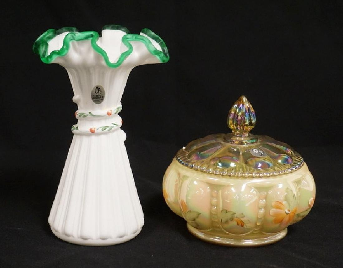 2 PIECE S OF HAND PAINTED FENTON. A VASE MEASURING 7