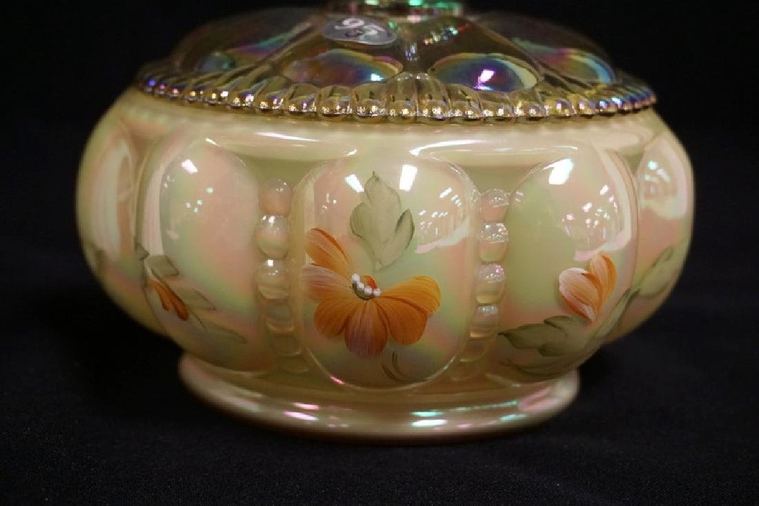 2 PIECE S OF HAND PAINTED FENTON. A VASE MEASURING 7 - 2