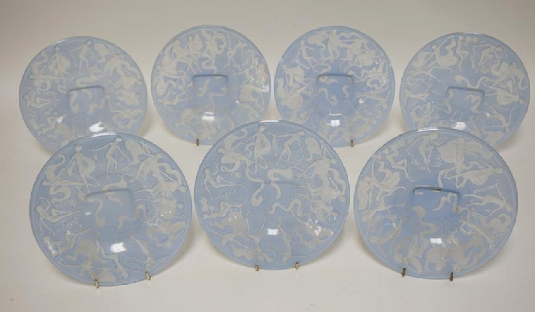 LOT OF 7 CONSOLIDATED ART GLASS *DANCING NUDES* PLATES