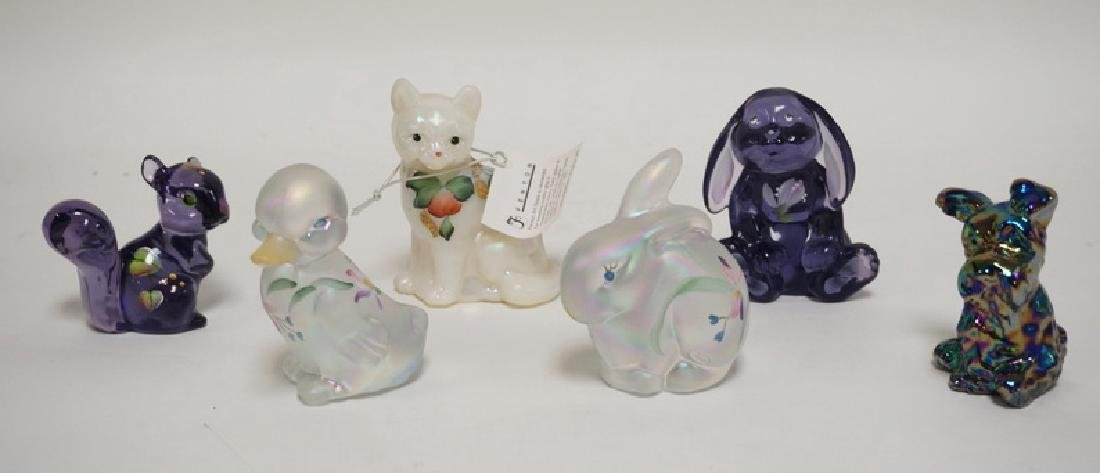 LOT OF 6 HAND PAINTED FENTON ART GLASS ANIMALS. TALLEST