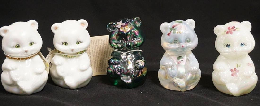 LOT OF 5 HAND PAINTED FENTON ART GLASS CATS. 3 1/2