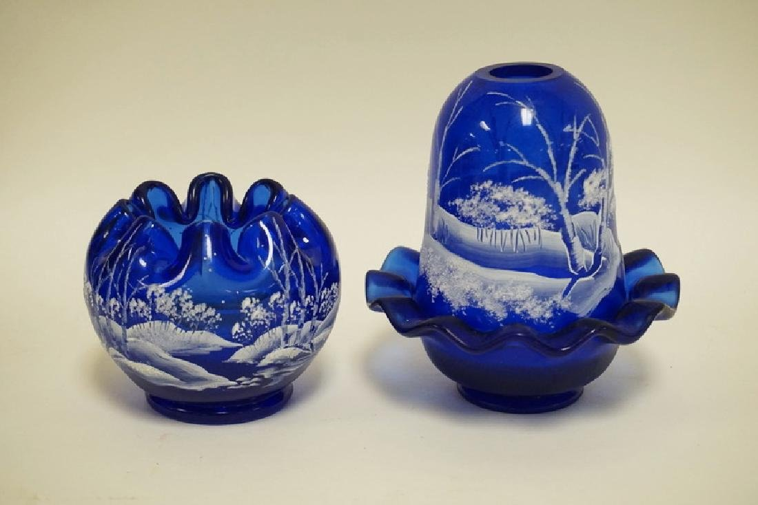 2 PC FENTON COBALT BLUE WITH HAND PAINTED WINTER