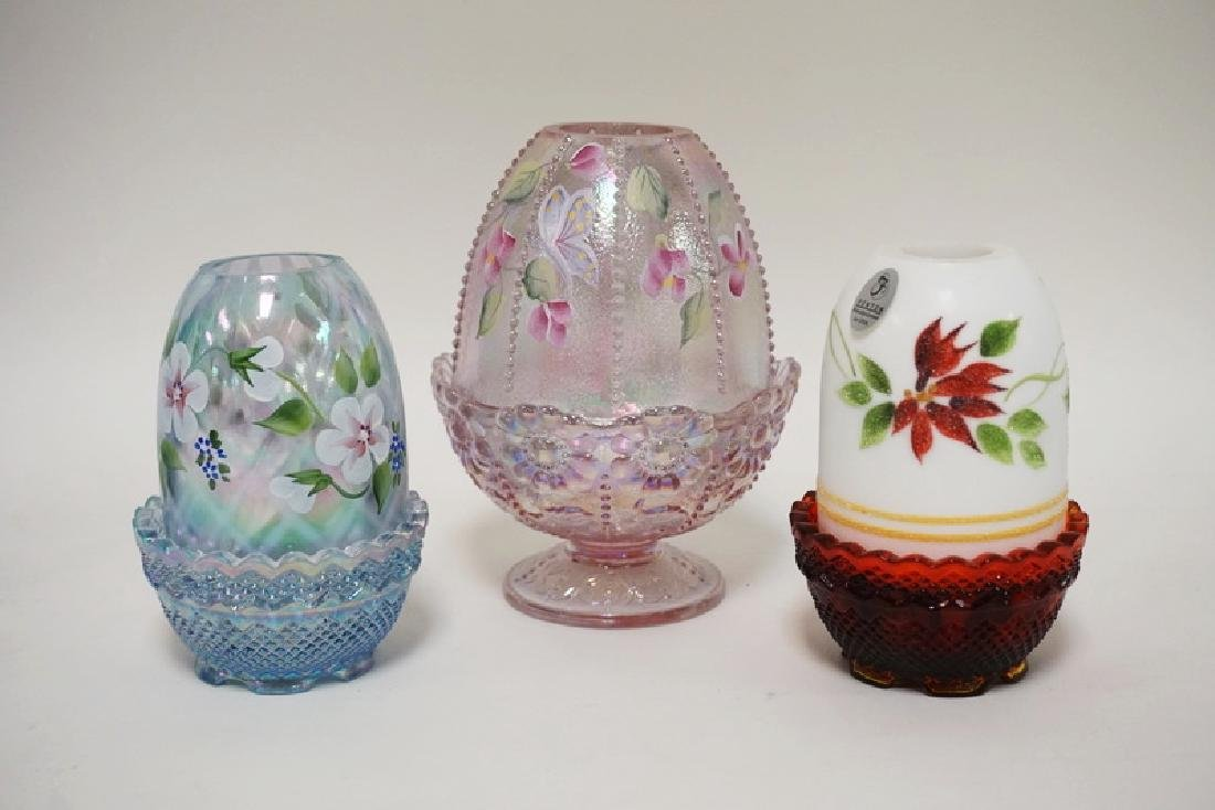 3 FENTON HAND PAINTED FAIRY LAMPS, 2 ARE CARNIVAL GLASS