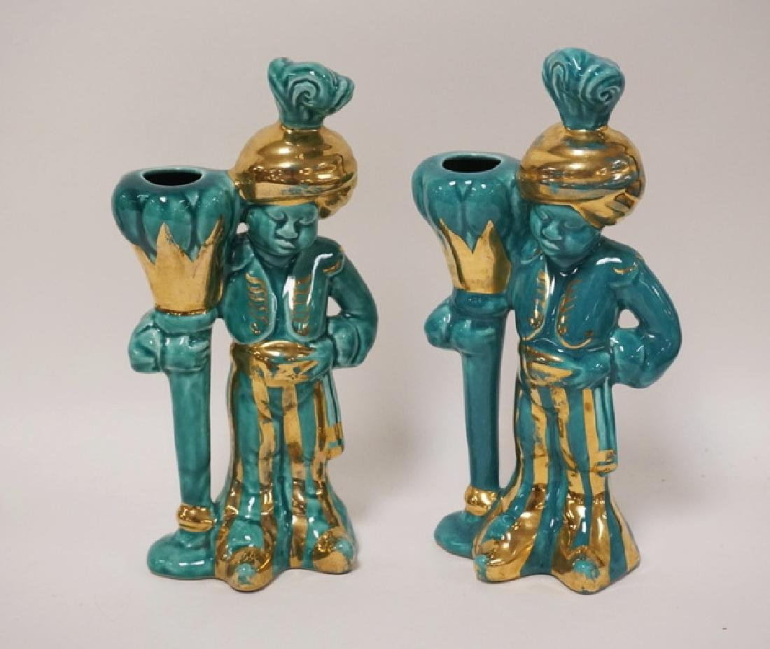 PAIR OF MID CENTURY BLACKAMOOR FIGURES IN A TURQUOISE
