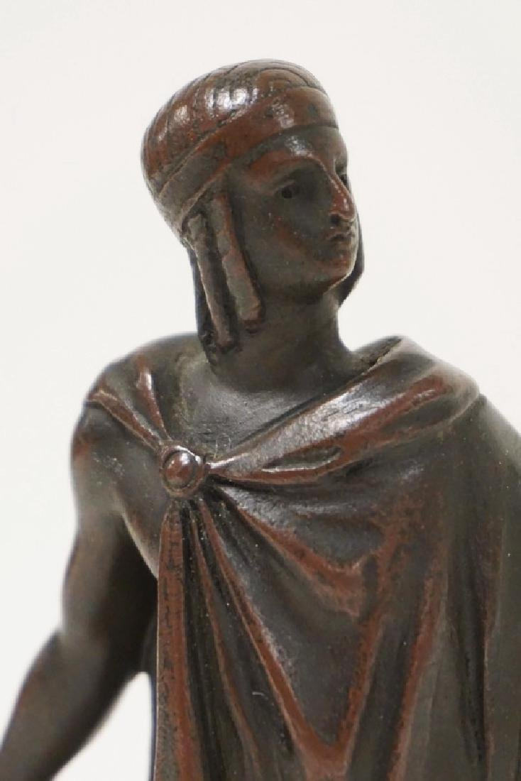 BRONZE PATINATED CLASSIUCAL FIGURE ON A POLISHED BASE. - 2