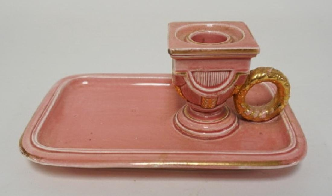 PINK GLAZED CHAMBER STICK WITH GOLD TRIM SIGNED B E Y