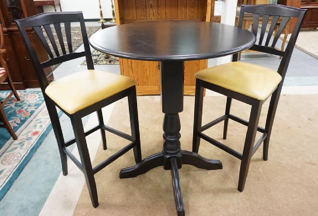 EBONIZED 3 PC BAR SET BY DINEC, CANADA. TABLE IS 35 ½