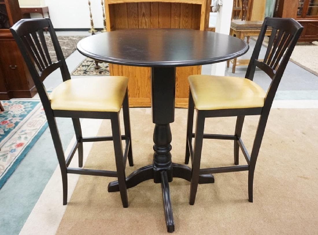 EBONIZED 3 PC BAR SET BY DINEC, CANADA. TABLE IS 35 ½ - 2
