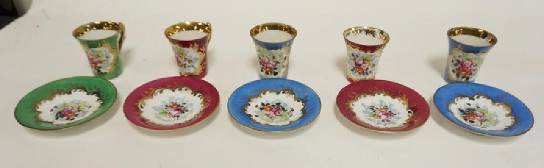 5 SEVRES HAND PAINTED DEMITASSE CUP AND SAUUCER SETS