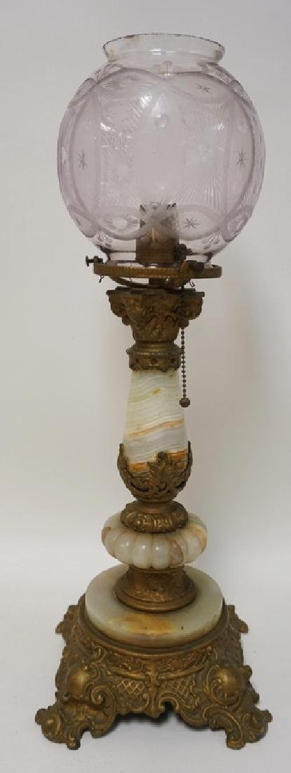 ONYX AND METAL LAMP WITH NICELY CUT GLASS GLOBE. 22 ½ H