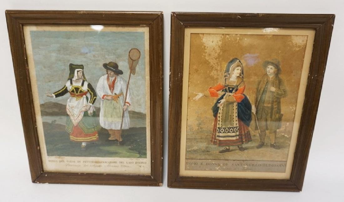 PAIR OF EARLY HAND COLORED ITALIAN PRINTS. ONE HAS SOME
