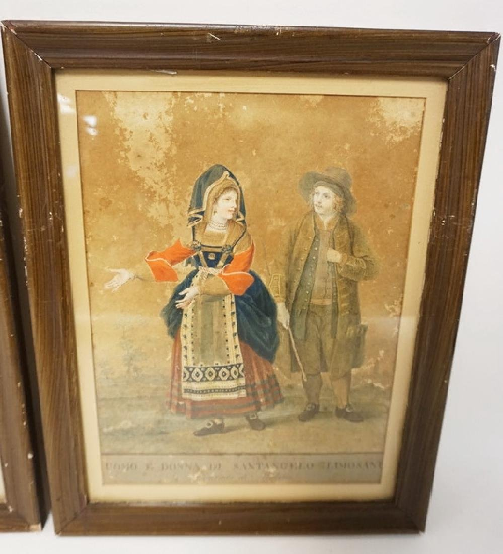 PAIR OF EARLY HAND COLORED ITALIAN PRINTS. ONE HAS SOME - 3