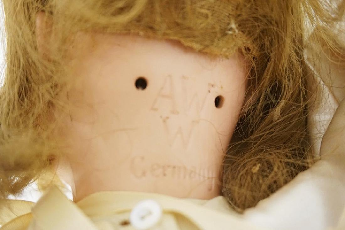 BISQUE HEAD DOLL MARKED AW W GERMANY. 23 IN - 3