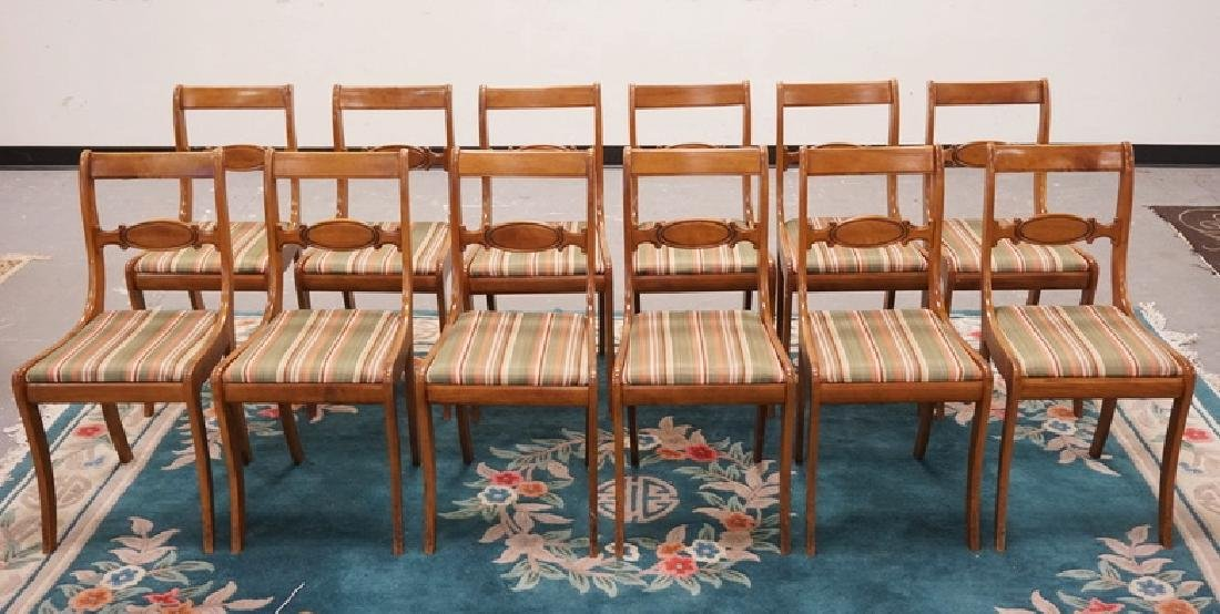 SET OF 12 TELL CITY SABRE LEG CHAIRS WITH UPHOLSTERED