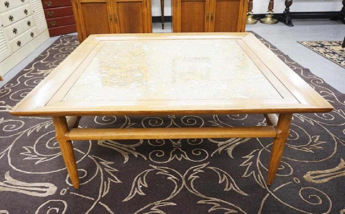 MARBLE TOP COFFEE TABLE. 44 IN SQUARE, 18 IN HIGH