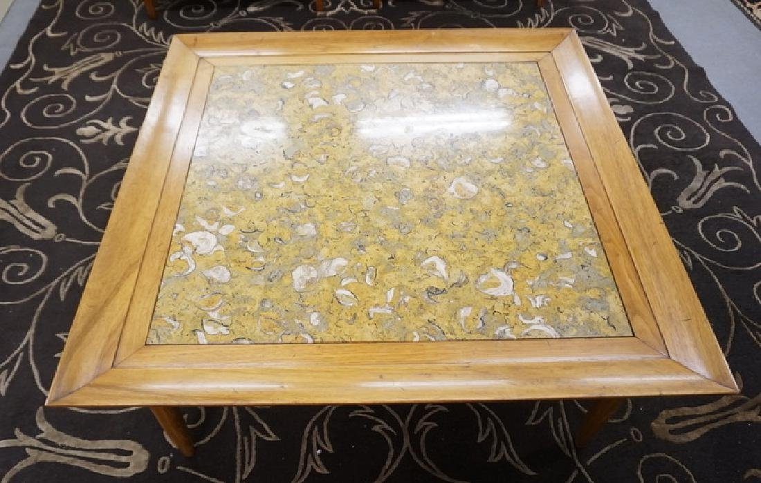 MARBLE TOP COFFEE TABLE. 44 IN SQUARE, 18 IN HIGH - 2