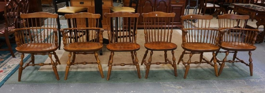 6 NICHOLS AND STONE SPINDLE BACK CHAIRS, 4 ARE