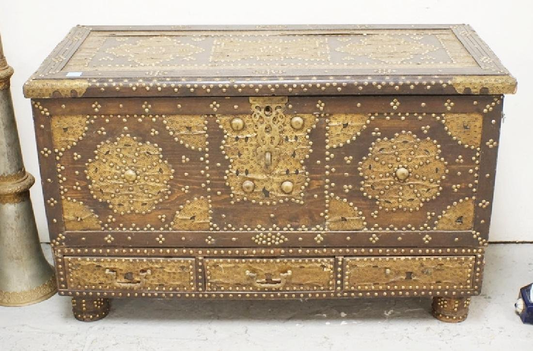 UNUSUAL FALL FRONT CHEST WITH TATOOED BRASS AND STEEL