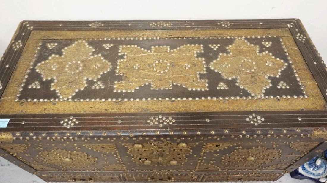 UNUSUAL FALL FRONT CHEST WITH TATOOED BRASS AND STEEL - 2