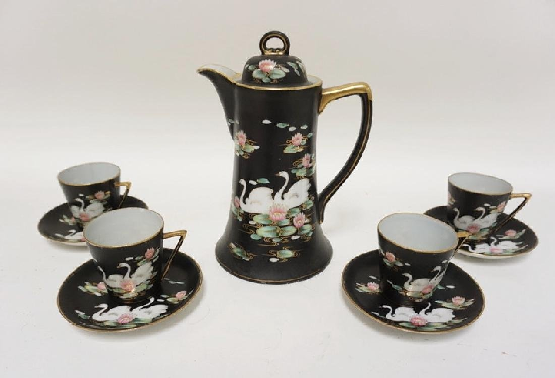 HAND PAINTED CHOCOLATE POT DECORATED WITH SWANS AND
