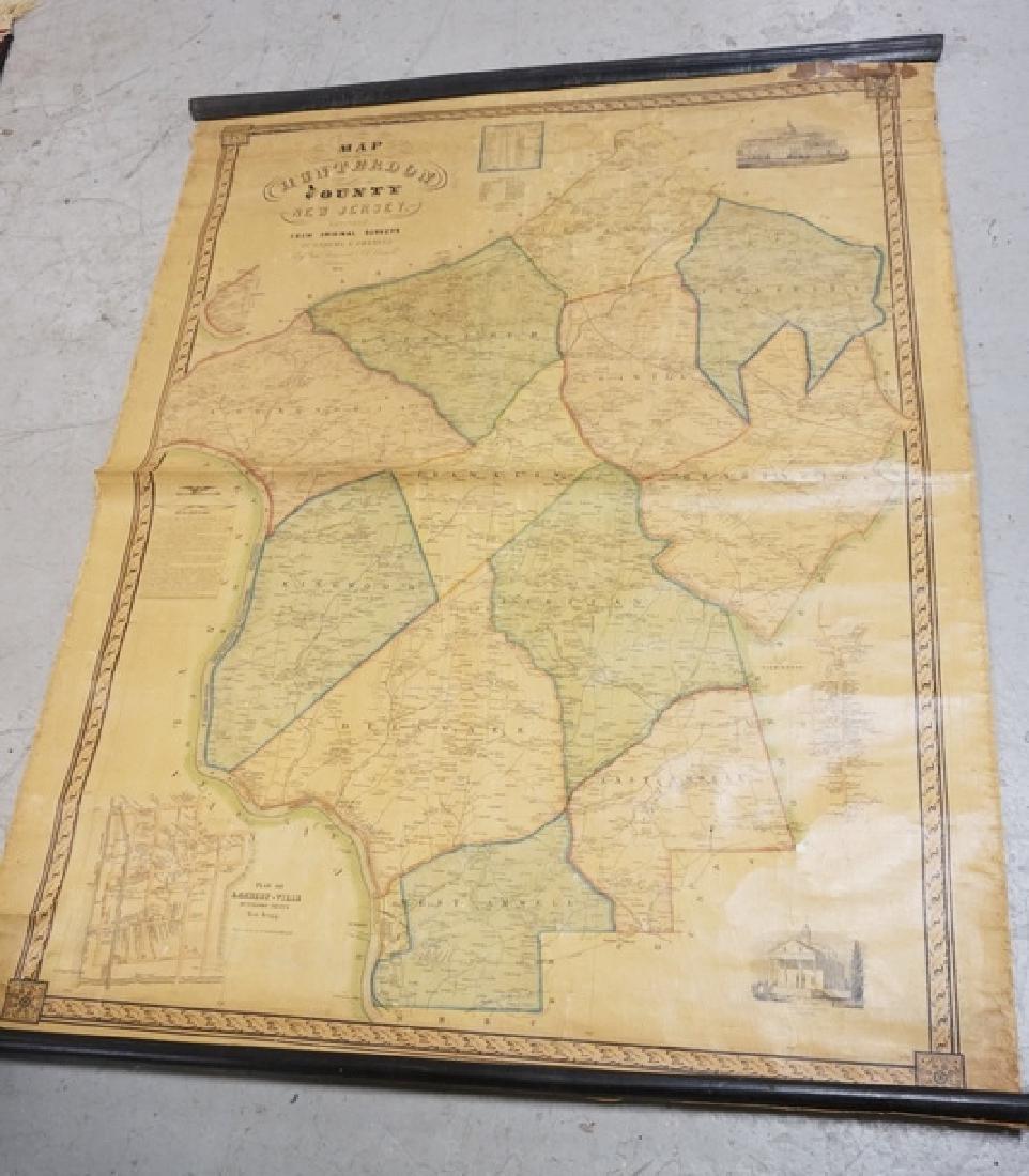19TH CENTURY MAP OF HUNTERDON COUNTY. 51 X 40 3/4