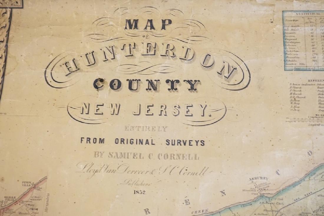 19TH CENTURY MAP OF HUNTERDON COUNTY. 51 X 40 3/4 - 2