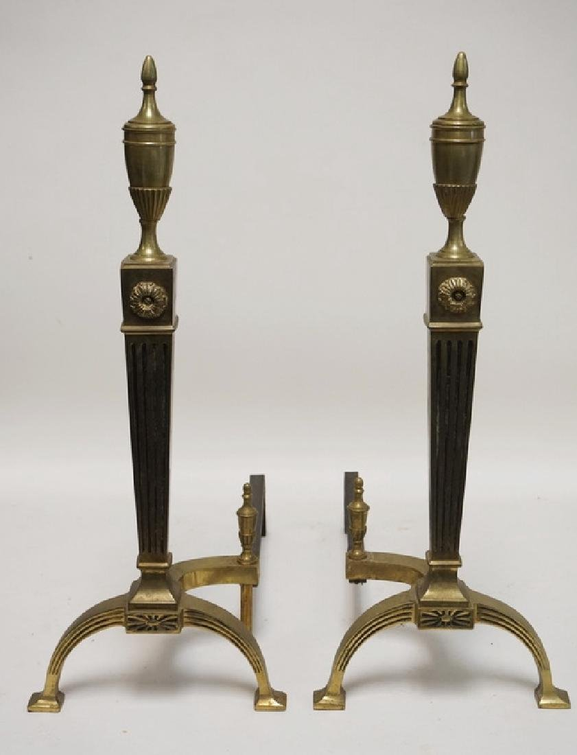 PAIR OF BRASS ANDIRONS WITH FLUTED SQUARE COLUMNSAND