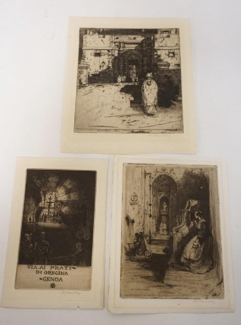 A.J. CAMERON. 3 ETCHINGS. LARGEST PLATEMARK IS 7 1/4 X