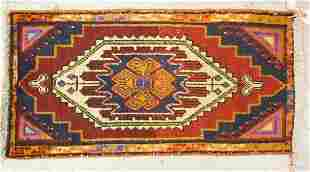HAND WOVEN ORIENTAL RUG MEASURING 3 FT X 1 FT 7 INCHES