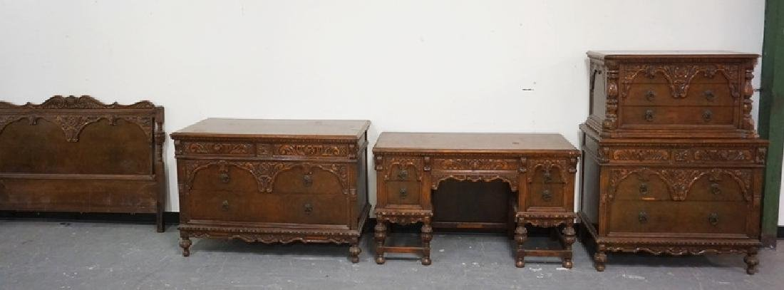 4 PIECE CARVED WALNUT BEDROOM SET. HAS WEAR.