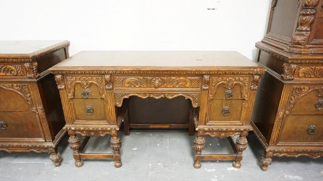 4 PIECE CARVED WALNUT BEDROOM SET. HAS WEAR. - 3